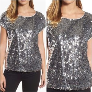 Vince Camuto Chrome Silver Sequin Front Top M